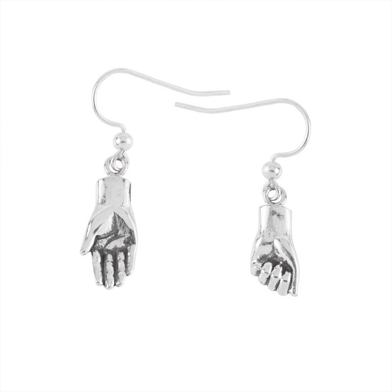 Tiny Hand Earrings Give with your right hand recieve with image 0
