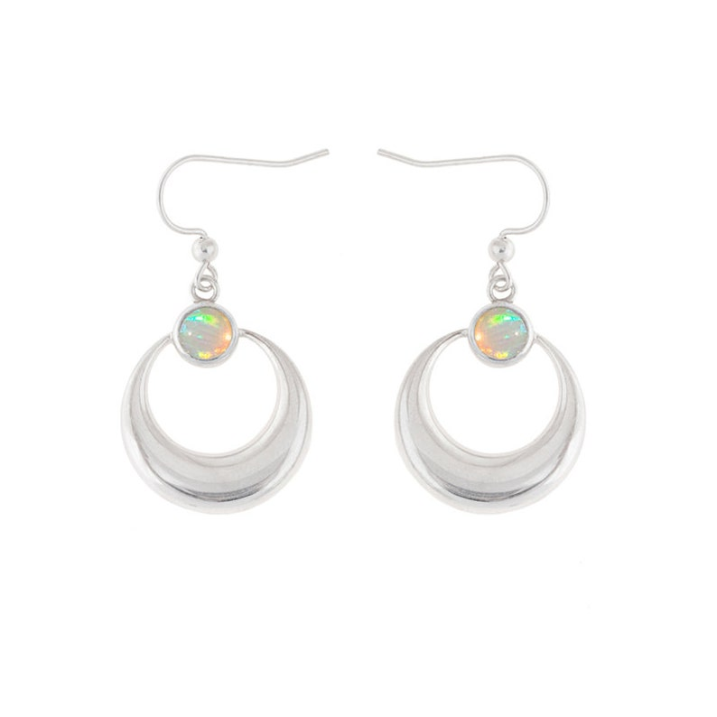 Sterling Silver Crescent Moon Earrings with Opals image 0