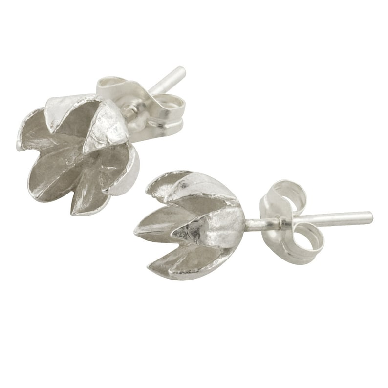 Small Sterling Silver Seed Pod Stud Earrings// Crepe Myrtle image 0