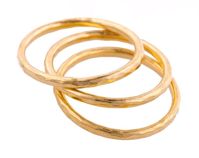 Set of Three Hammered Gold Fill Stacking Rings made to order in your size