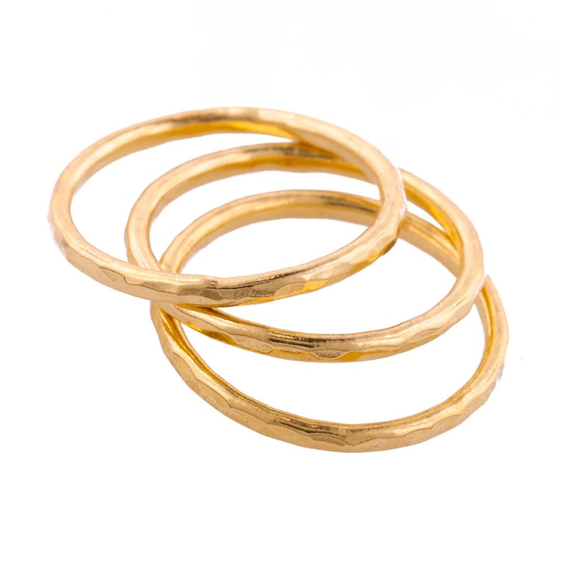Set of Three Hammered Gold Fill Stacking Rings made to order image 0