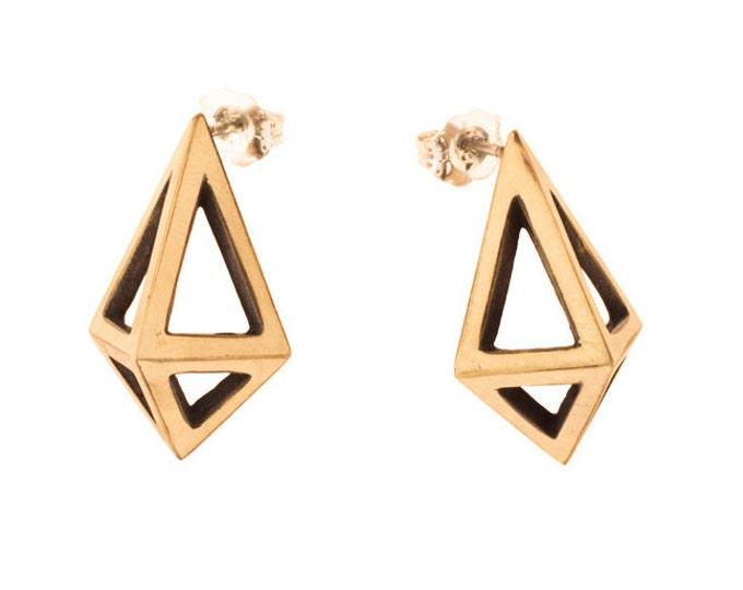 Large Brass Prisms // Geometric Modernist Studs
