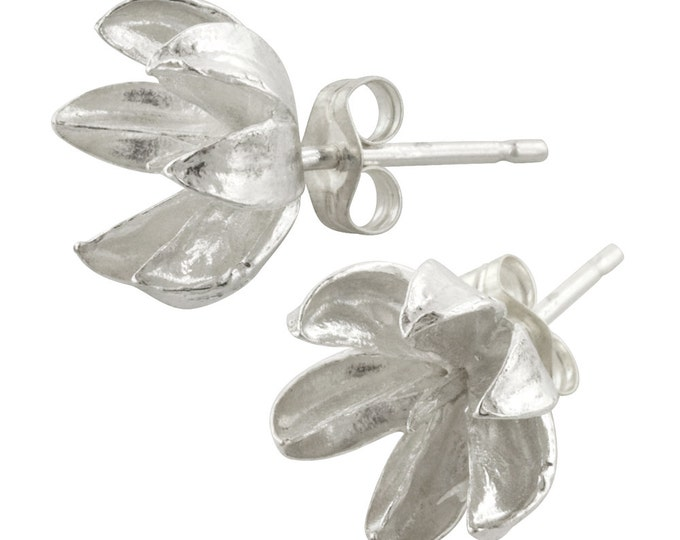 Large Sterling Silver Crepe Myrtle Seed Pod Stud Earrings