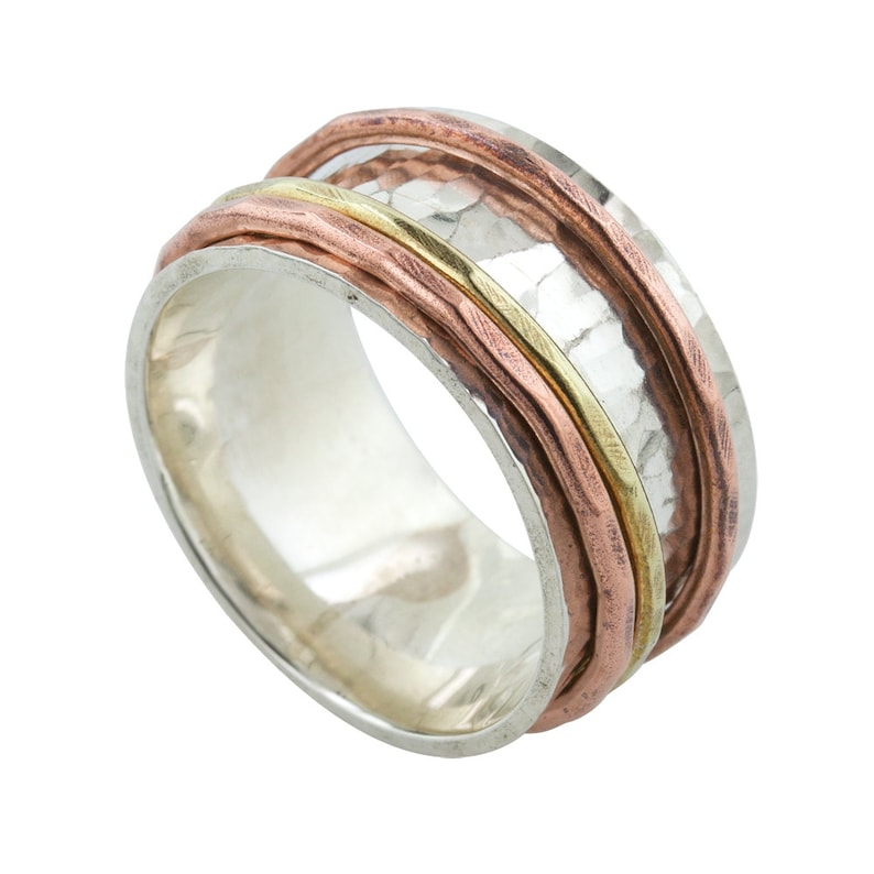 Tri Color Spin Ring in silver copper and brass made to order image 0
