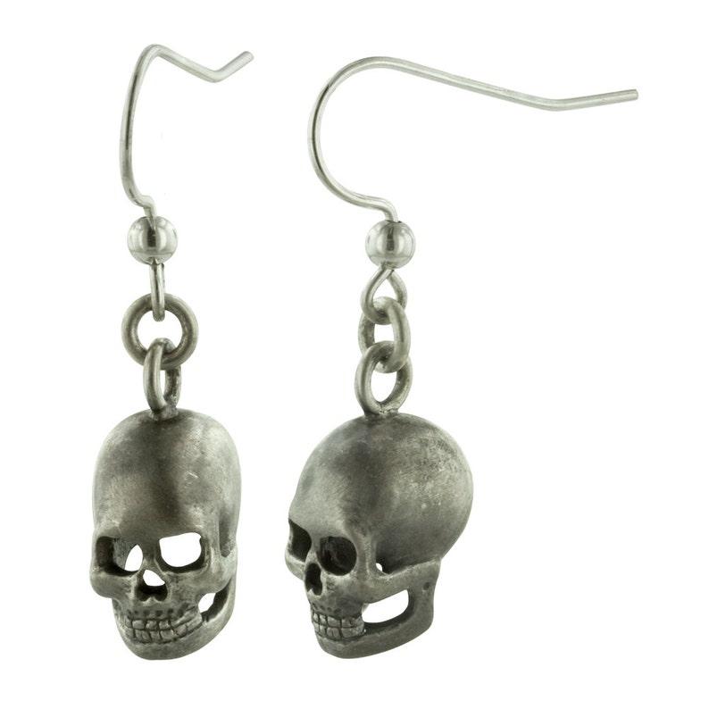 SKULLS // Hand Carved Sterling Silver Skull Earrings image 0