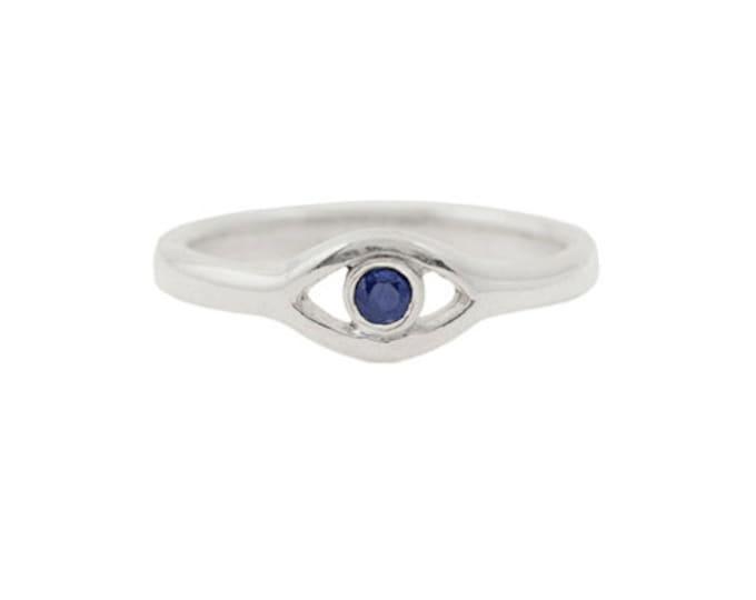Sterling Silver Evil Eye Ring with a Blue Sapphire // Made to order in your size