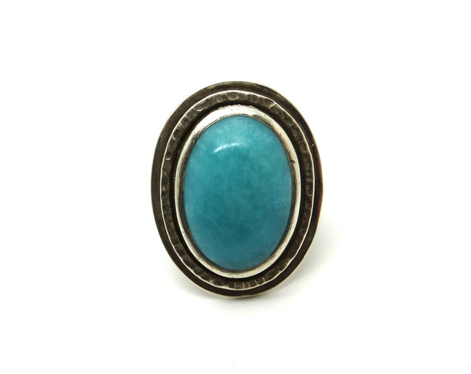 Amazonite and Sterling Silver Statement Ring // size 7