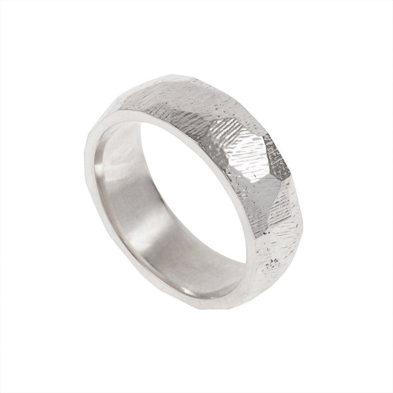 Facets Mens Wedding Band Made to order in your size material image 0