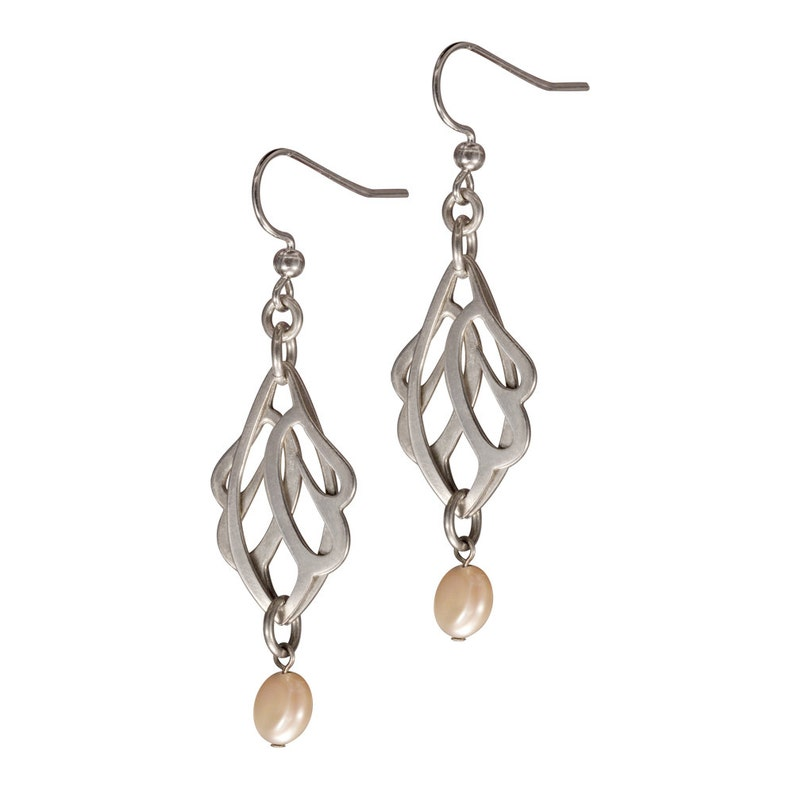 Sterling Silver Butterfly Wings Earrings with a Pearl image 0