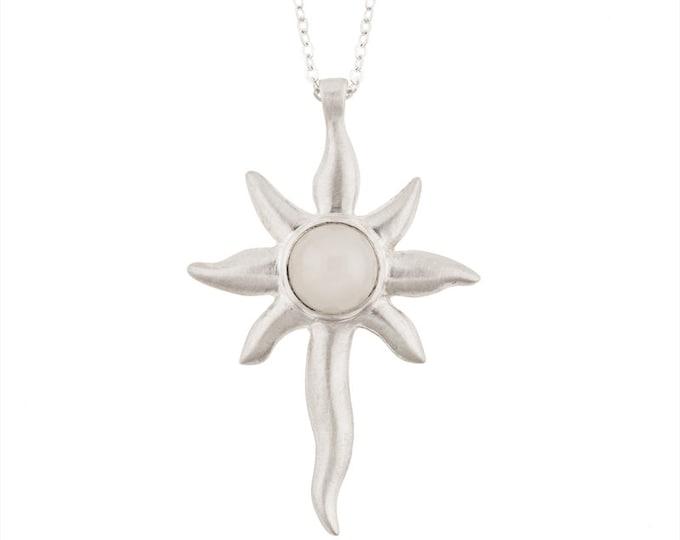 Silver Sunburst Pendant with Moonstone