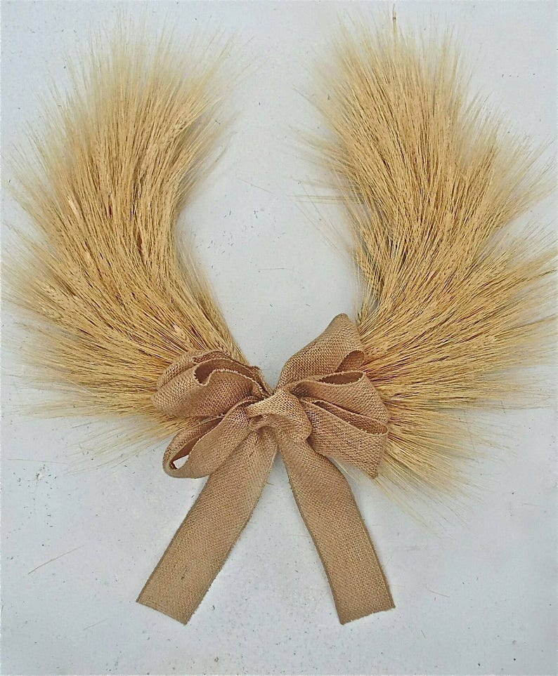 Horse Shoe Wreath country front door indoor wheat wreath Thanksgiving and Christmas Blond Wheat Chevron Autumn Fall Wreath