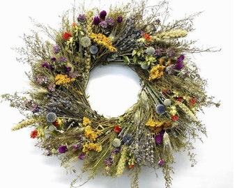 New design! Wild Harvest Dried fall floral Wreath Made in the USA