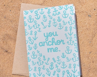 Anchor Letterpress Greeting Card Anniversary Valentine Love Stationery
