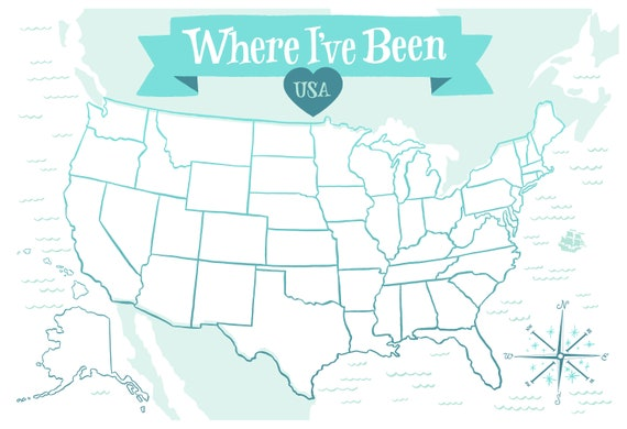 Where I \' ve Been: USA Map, Icy Blue Illustrated Art Print