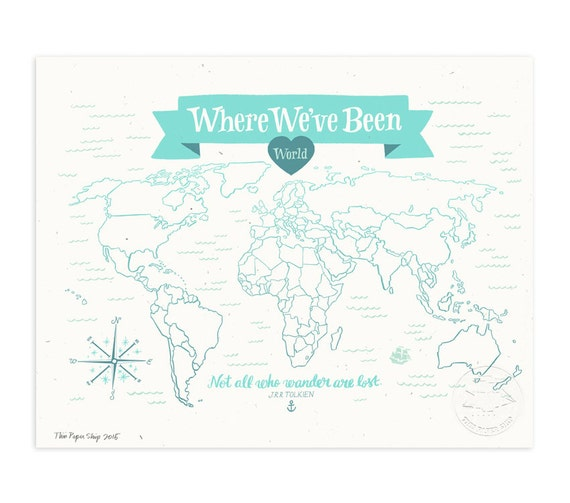 Where We've Been: World Map Icy Blue Illustrated Art | Etsy