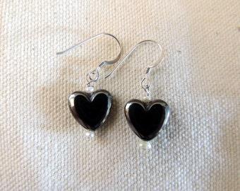 Hematite Heart Earrings in GF or  Sterling Silver