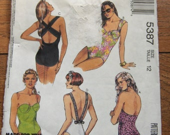 vintage 1991 McCalls pattern 5387  misses swimsuit  sz 12 uncut
