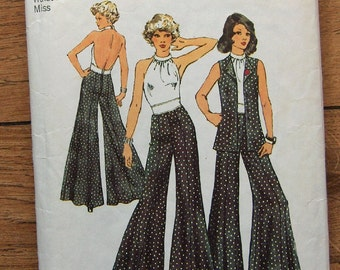 Vintage 1973 Simplicity pattern 5611 Misses Halter Top, Unlined vest, Wide Leg Pants sz 10 B 32 1/2