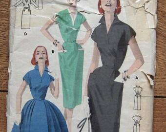 vintage 50s butterick pattern 7750 misses dress sz 18 b36 full or slim skirt