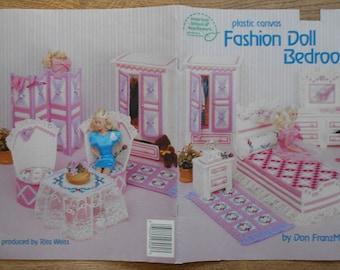 vintage 1989 Plastic Canvas pattern Fashion Doll BEDROOM