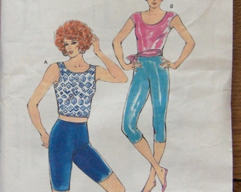 vintage 1987 kwik sew pattern 1679 misses women TIGHTS and Top sz XS-L uncut exercise wear