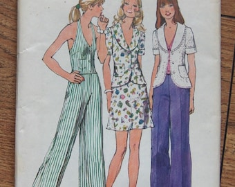 Vintage 1973 simplicity sewing pattern 5689 Misses Unlined Jacket, Halter Vest, Mini Skirt, Pants sz 8 B 31 1/2 uncut