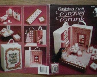 1992 Plastic Canvas pattern Fashion Doll Barbie TRAVEL TRUNK