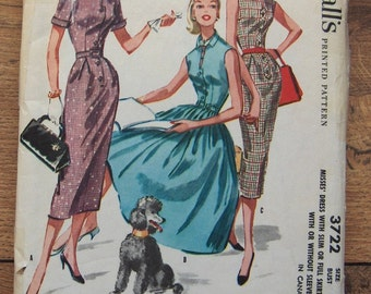 Vintage 1956 McCalls pattern 3722 Misses Dress with Slim or Full Skirt sz 16  B34
