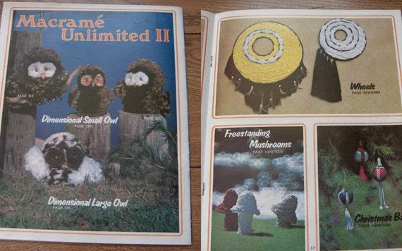 VINTAGE 70s booklet Macrame Unlimited II see pics OWLS hangings hangers