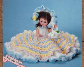 Vintage 80s crochet pattern Doll clothes ABBEY bed doll
