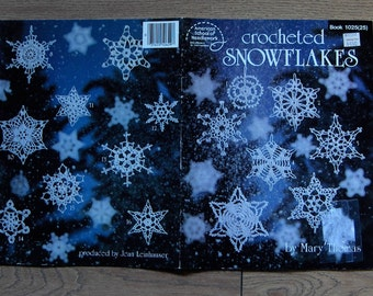 vintage 80s crochet pattern CROCHETED SNOWFLAKES holiday Christmas decor