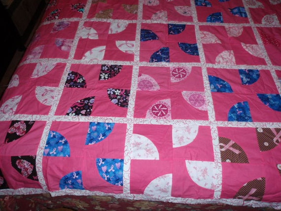 Breast Cancer Awareness Fabric 30 Drunkard S Path Blocks Quilt Top Ready For Quilting 65 X 80
