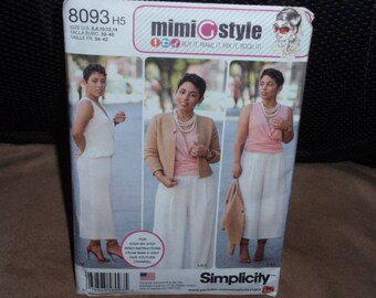 Simplicity 8093 Lined Jacket , Top, Wide Leg Cropped Pants by Mimi G Style Size 6 - 14 New-Uncut