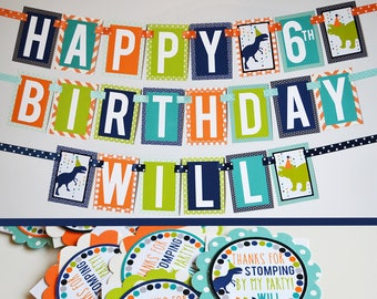 Dinosaur Birthday Party Decorations Package Fully Assembled   Boy Dinosaur Banner   Dinosaur Decorations   Modern Dinosaur Party