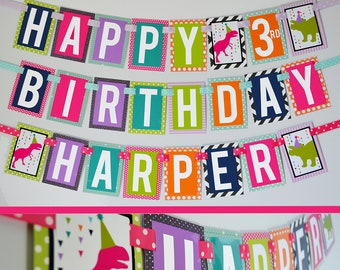 Dinosaur Birthday Party Decorations Banner Fully Assembled | Girl Dinosaur Banner | Dinosaur Decoration | Modern Dinosaur Party | Dino Party