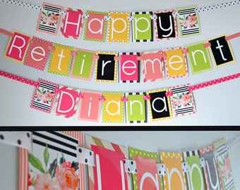 Retirement Party Banner Fully Assembled | Retirement Party | Retired Woman | Retirement Decorations | Floral Retirement Party