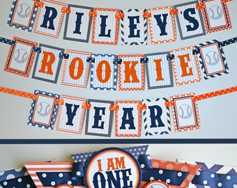 Baseball Birthday Party Decorations Rookie Year Fully Assembled | Orange Navy Blue Baseball | Baseball Party | Baseball Theme Birthday |