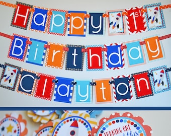 Rocket Ship Birthday Party Decorations Fully Assembled   Spaceship Birthday Party   Space Ship Birthday   Outer Space Party   Space Theme  