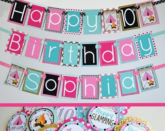 Glamping Party Decorations Package Fully Assembled | Girl Glamping Banner | Glamping Decoration | Glamping Birthday Party Decorations