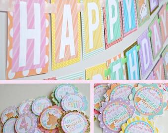Unicorn Birthday Party Decorations Package Fully Assembled   Gold Unicorn   Glitter Unicorn   Pastel Rainbow Unicorn  Pastel Banner