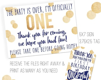 Mr. ONEderful Party Printables | Mr. ONEderful Favor Tags | Favor Sign | Favor Tags | Mister ONEderful Party | Navy and Gold Onederful Party