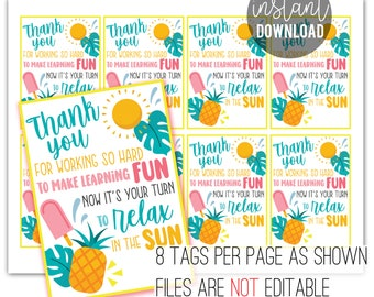 Teacher Appreciation Printable Tag   End of the Year Gift   Teacher Gift   Relax in the Sun   Teacher Gift Tag   Towel Water Bottle Gift Tag