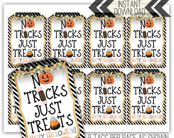 INSTANT DOWNLOAD Printable No Tricks Just S/'more Treats Halloween 3-inch Circle TagLabelSticker,Classroom Gift Self-Editing with CORJL