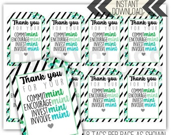 photo about Thank You for Your Commit Mint Free Printable called Trainer appreciation tags Etsy