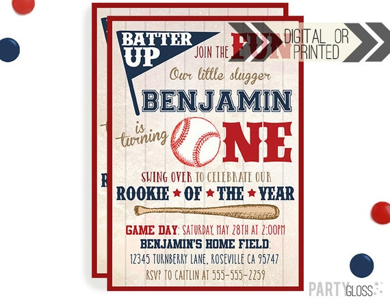 Vintage Baseball Birthday Invitation Digital Or Printed