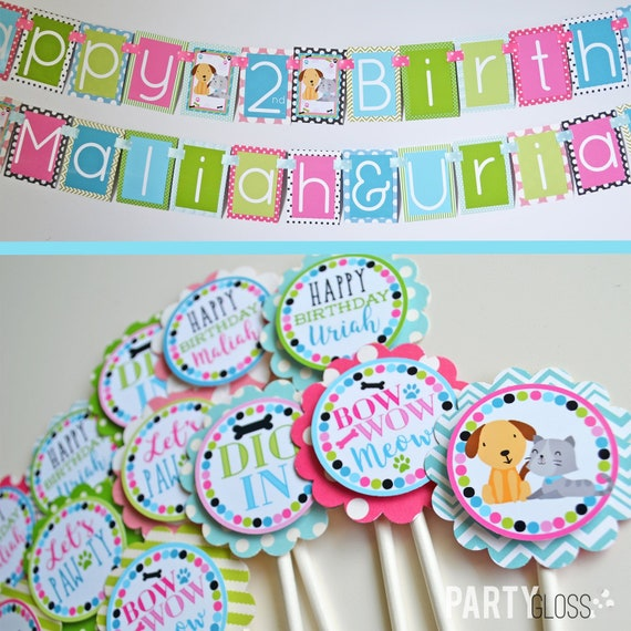 Kitty Puppy Birthday Party Decorations Package Fully