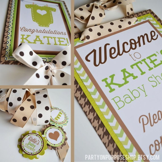baby shower decorations lime green brown party fully assembled etsy