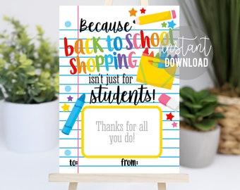 Back To School Printable Gift Card Holder   Amazon Target Staples Office Max   Teacher Gift Ideas   Easy Teacher Gift   School Supply Card