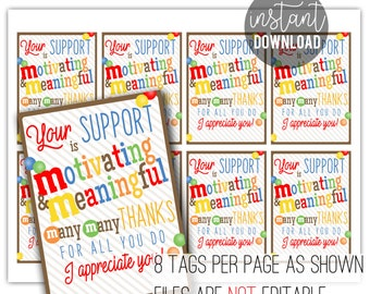 Appreciate Your Support Printable Tag   Sponsor Appreciation   mm Tags   Customer Appreciation   Client Thank You   Supporter Appreciation