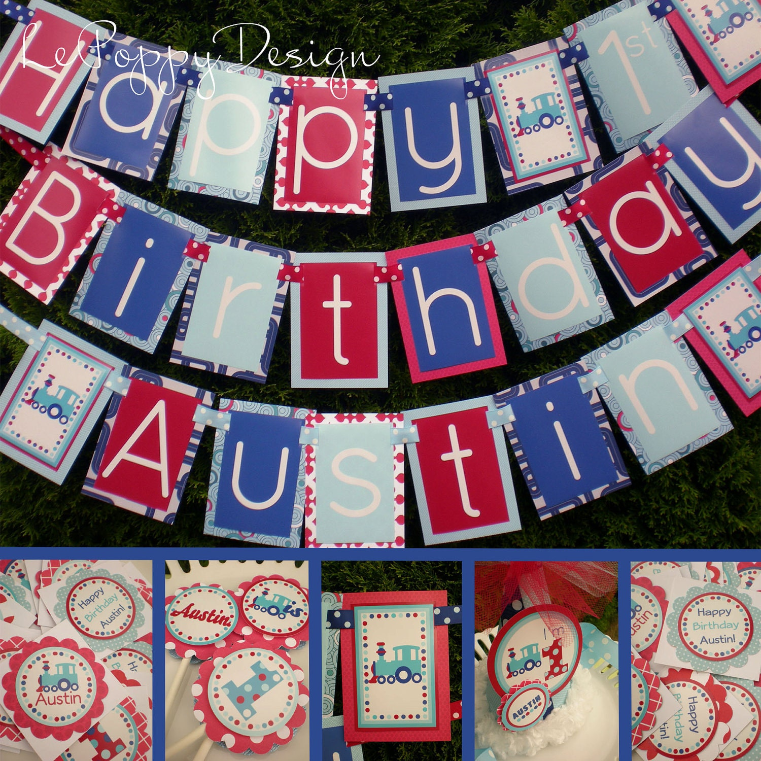 Train Birthday Party Decorations Package Blue Red Fully